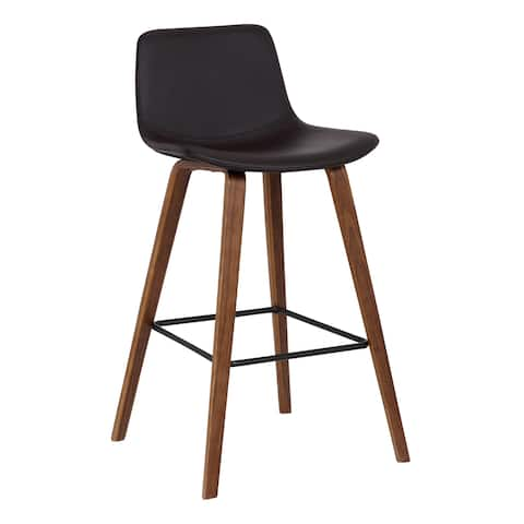 Maddie Contemporary Barstool in Walnut Wood Finish with Black Powder Coated Finish and Brown Faux Leather