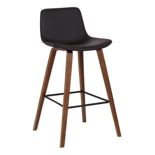 Armen Living Maddie Contemporary Walnut Wood Finish and Brown Faux Leather Barstool with Black Powder-coated Finish Footrest