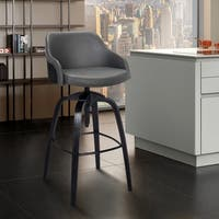 Tara Contemporary Adjustable Barstool in Black Brushed Wood Finish and Grey Faux Leather