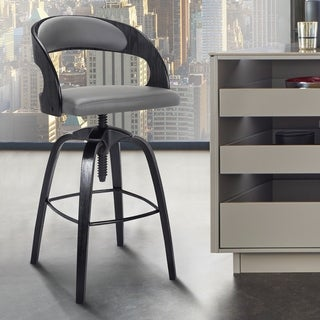 Abby Contemporary Adjustable Barstool in Black Brushed Wood Finish and Grey Faux Leather