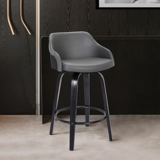 Link to Alec Contemporary Swivel Barstool in a Wood Finish and Faux Leather Similar Items in Dining Room & Bar Furniture