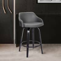 Alec ContemporarySwivel Barstool in a Wood Finish and Faux Leather
