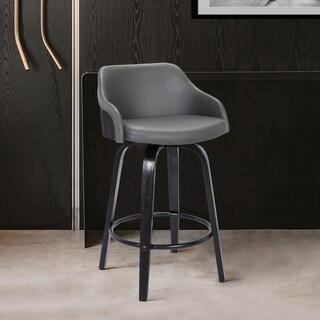 Alec Contemporary Faux-leather Wood-finished Swivel Barstool