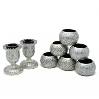 Homemade Rangeene Set Of 6 Napkin Rings And 2 Taper Candle Holders