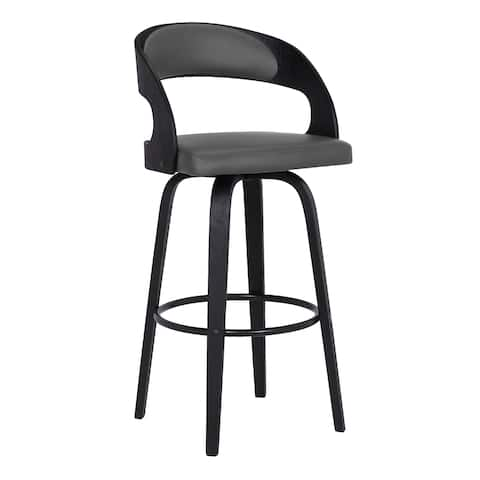 Shelly Contemporary Swivel Barstool in Black Brush Wood Finish and Grey Faux Leather