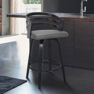 Carbon Loft Evan Swivel Bar Stool in Black Brush Wood and Grey Faux Leather