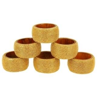 Handmade Rangeene Aluminum Ball Chain Wooden Napkin Ring Set of 6