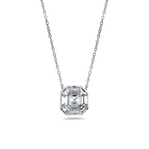 Auriya 5/8ctw Asscher-Cut Diamond Necklace 14-karat White Gold