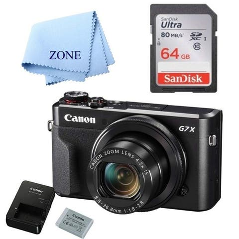 Canon G7X Mark II Digital Camera - Wi-Fi & NFC Enabled (Black) with 64GB SDHC Card