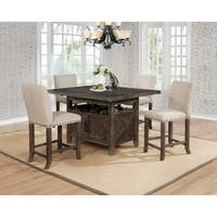 Best Quality Furniture Rustic Solid Wood Extendable 5-Piece Counter Dining Set with Cabinet Storage