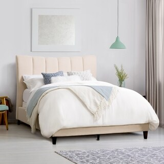CorLiving Rosewell Vertical Channel-Tufted Fabric King Bed Frame
