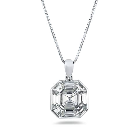 Auriya 1 1/3ctw Asscher-Cut Diamond Necklace 14-karat White Gold