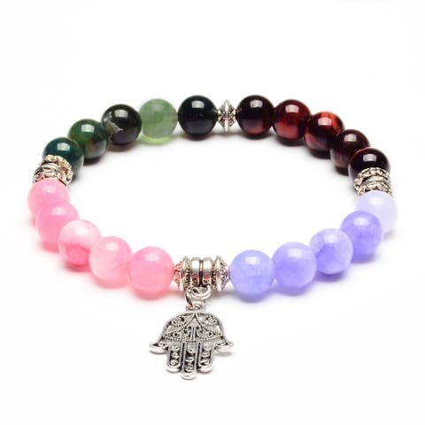ELYA Hamsa Jade, Agate and Red Tiger's Eye Stone Bracelet
