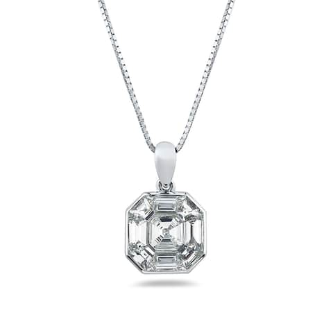 Auriya 1 1/6ctw Asscher-Cut Diamond Necklace 14-karat White Gold
