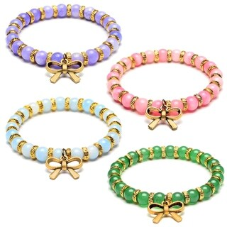 ELYA Bow Tie Charm Jade Stone Beaded Bracelet
