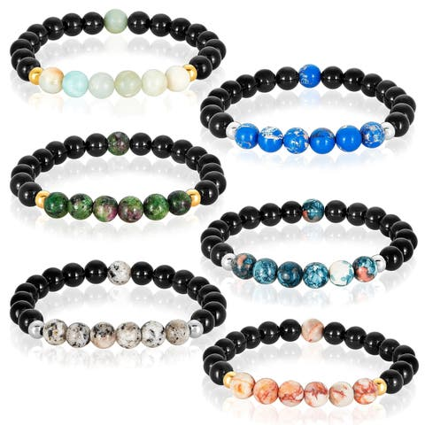 Agate and Natural Stone Beaded Stretch Bracelet (8mm)