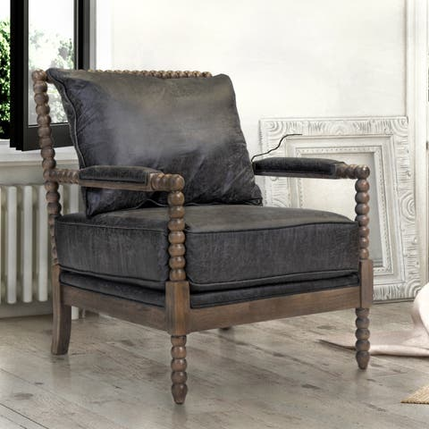 The Curated Nomad Union Rustic Boho Faux Leather Arm Chair
