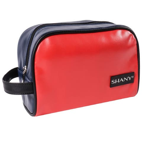 SHANY Grooming Bag and Travel Toiletry Tote in Faux Leather  NAVY/RED