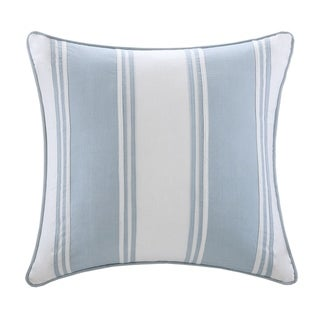 Harbor House Crystal Beach White with Blue Strapping Pieced Square Pillow
