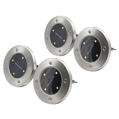 4 LED Solar Powered Disk Path Lawn Lights Outdoor Waterproof Landscape Spike 4pc - N/A