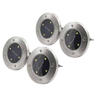 4 LED Solar Powered Disk Path Lawn Lights Outdoor Waterproof Landscape Spike 4pc
