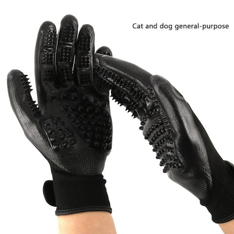 True Pet Hair Grooming Gloves Gentle Deshedding Brush Efficient Dog Hair Removal