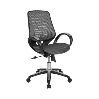 Offex Contemporary Mid Back Mesh Office Chair with Gray and White Woven Pattern