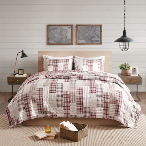 Madison Park Pine Red/ Beige 3 Piece Reversible Printed Coverlet Set
