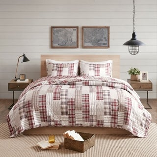 Link to Madison Park Pine Red/ Beige 3 Piece Reversible Printed Coverlet Set Similar Items in Quilts & Coverlets