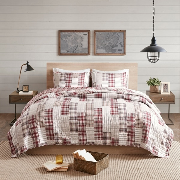 Madison Park Pine Red/ Beige 3 Piece Reversible Printed Coverlet Set. Opens flyout.