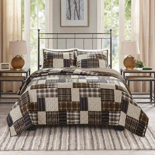 Link to Madison Park Heavenly Black/ Brown 3 Piece Reversible Printed Coverlet Set Similar Items in Quilts & Coverlets