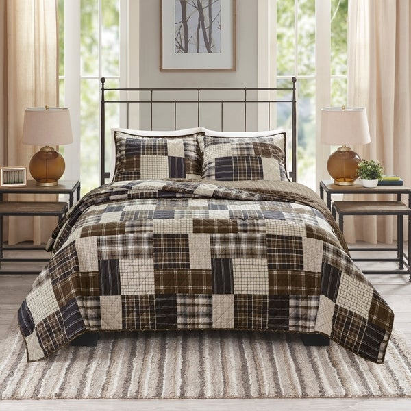 Madison Park Heavenly Black/ Brown 3 Piece Reversible Printed Coverlet Set. Opens flyout.