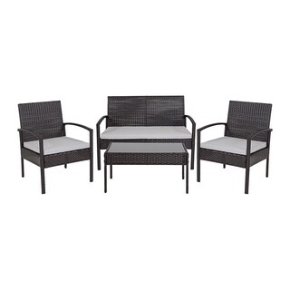 Offex 4 Piece Contemporary All Weather Black Outdoor Patio Set with Steel Frame and Gray Cushions