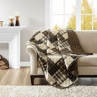 Madison Park Heavenly Black/ Brown Reversible Oversized Quilted Throw
