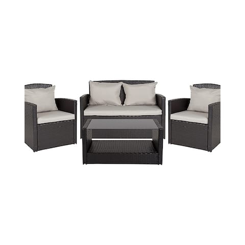 Offex 4 Piece Contemporary All Weather Black Outdoor Patio Set with Gray Back Pillows and Seat Cushions