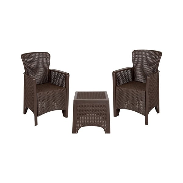 Offex Chocolate Faux Rattan Plastic Chair Set With Matching Side Table Free Shipping Today 25603999