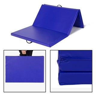 4'x6'x3 Gymnastics Mat Thick Folding Panel Tumbling Mats for Home Gym Fitness Exercise Workout, Blue
