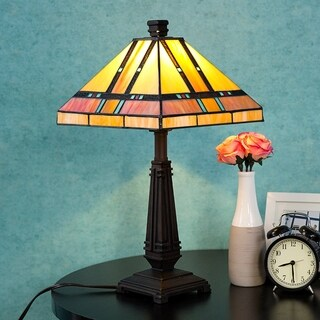 """Tiffany Style Egyptian Table Lamp Home Decor Lighting Mission Design Desk Lamp with 14"""" Lampshade"""