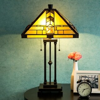 """Tiffany Style Egyptian Table Lamp Home Decor Lighting Mission Design Desk Lamp with 14.25"""" Lampshade"""