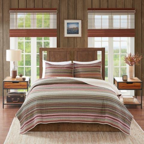 Woolrich Willard Multi Oversized Stripe Print Cotton Quilt Set