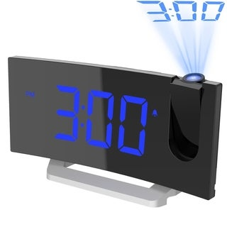 Mpow Projection Clock FM Radio Alarm Clock 5 inch Curved-Screen Digital Alarm Clock with Multiple Alarm Voice