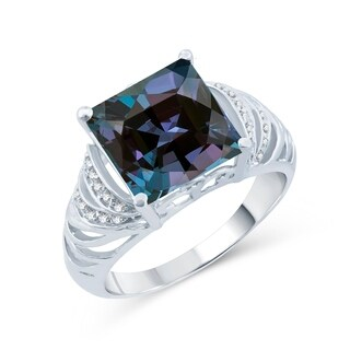 Sterling Silver with Color Changing Alexandrite and Natural White Topaz Square Cocktail Ring
