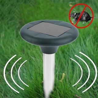 2PCS Garden Yard Solar Power Ultrasonic Sonic Snake Mouse Pest Reject Repeller - Black and Silver