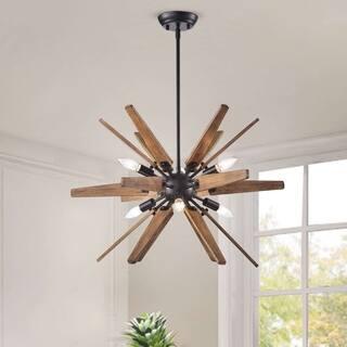 Bernice 6-Light Antique Black Sputnik Natural Wood Chandelier