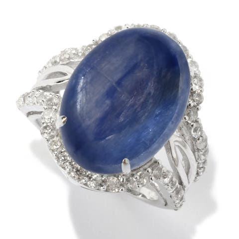 Sterling Silver with Natural kyanite and White Topaz North South Split Shank Ring