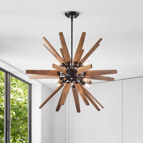 Bernice 8-Light Antique Black Sputnik Natural Wood Chandelier