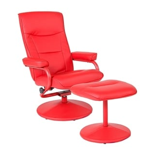 Offex Chelsea Contemporary Swivel Recliner and Ottoman in Red Vinyl