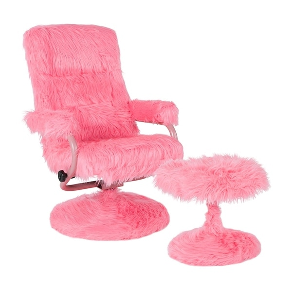 Offex East Side Contemporary Swivel Recliner and Ottoman in Pink Fur. Opens flyout.