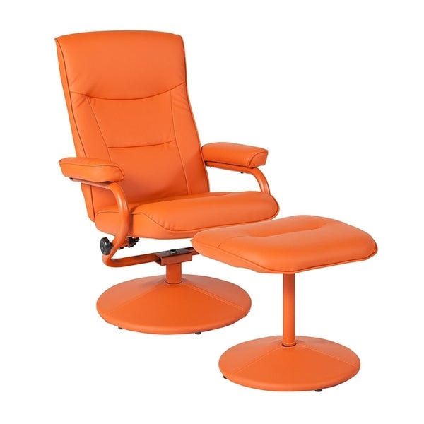 Offex Chelsea Contemporary Swivel Recliner and Ottoman in Orange Vinyl