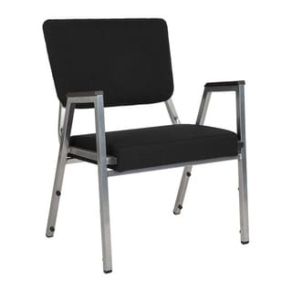 Offex 1500 lb. Rated Black Antimicrobial Fabric Bariatric Stackable Arm Chair with 3/4 Panel Back and Silver Vein Frame